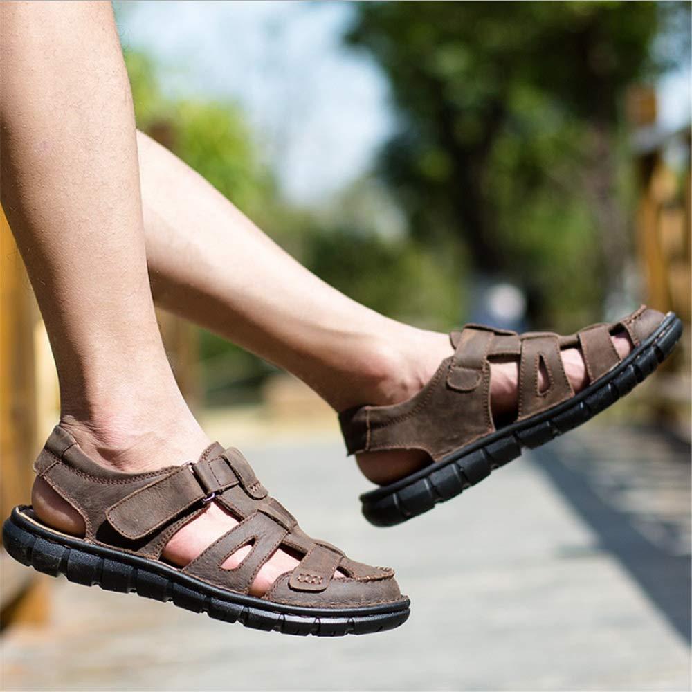 Wagsiyi Hausschuhe Sandalen Herren Outdoor Grün Freizeitschuhe LederSandale cm Kollision Breathable Schuhe (24,0-27,0) cm LederSandale Strandschuhe Braun f48d64