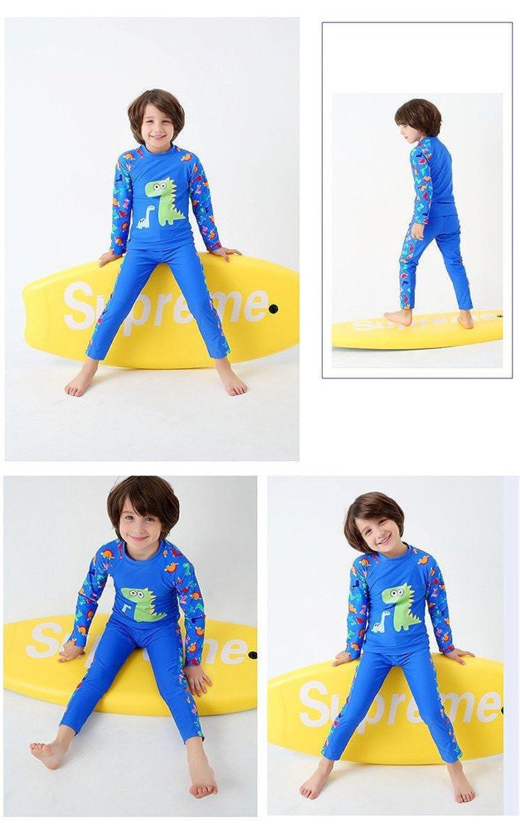 JELEUON Little Boys Two Pieces Full Body Long Sleeve Swimwear Harajuku Dinosaur Print UV Rash Guard Sun Protection Swimsuit