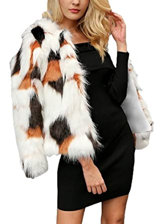 c9c966c6b5 Amazon.com: Women's Faux Fur Gradient Coat Long Sleeve Stitching ...