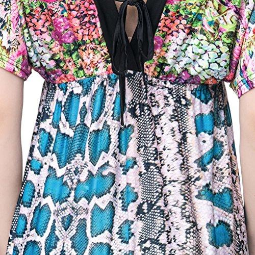 Cover V Neck Vestito Beach 8 Bikini Allentato Laterale Stampato Wanyang Slittamento Donne Manica Up Di Copricostume Lunga fgnYwtUx