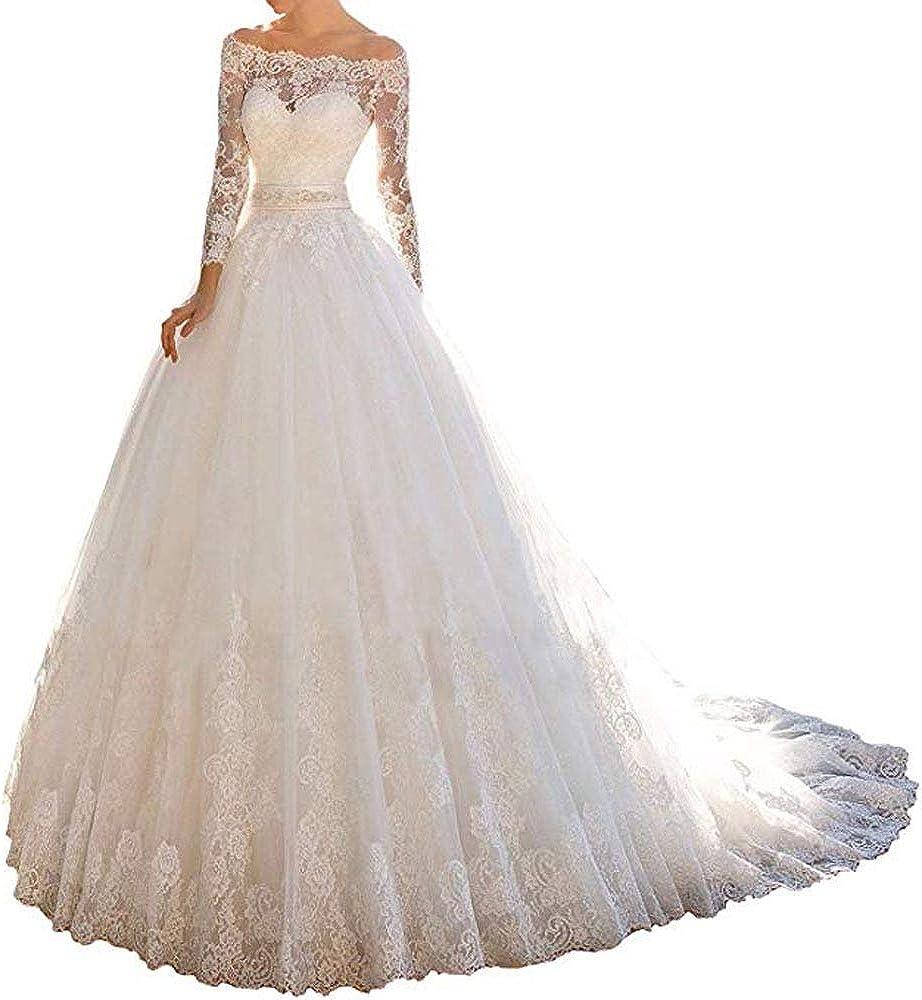 Cloverbridal Prinzessin Spitze Off Schulter HochzeitsKleid für Braut 13  Lange Ärmel Kugel Kleid Brautkleider