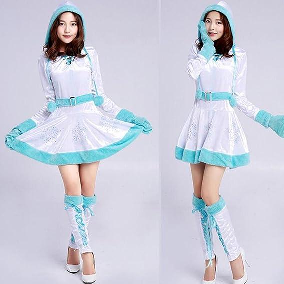 mnii women miss santa christmas costume fancy mini dress snowman clothing cosplay white christmas hooded hooded - White Christmas Costumes