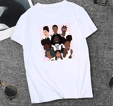 Mzjiaqir Camiseta Negra con Estampado De Belleza Mujer Camiseta De Manga Corta con Cuello Redondo Camiseta Suelta 2020 Mujeres De Verano: Amazon.es: Ropa y accesorios