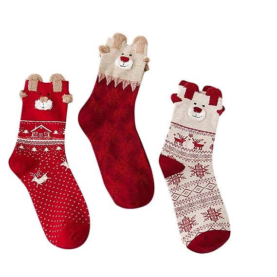 Amphia 3 Pares Invierno Los NiñOs Elk Calcetines, Calcetines De Dibujos Animados Calcetines Navidad Regalo De Navidad Calcetines De Lana Gruesa Caliente: ...