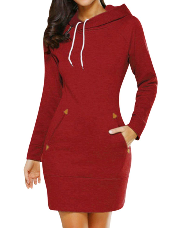BBYES Women's Hoodie Sweatshirt Dress Long Sleeve Slim Fit Midi Dress Hooded Tops with Pockets(Red,Medium)