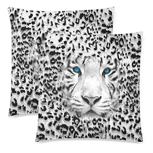 (InterestPrint Wild Animal Tiger Print Pillowcase Pillow Cushion Case Cover 18x18 Twin Sides, Animal Skin Polyester Zippered Throw Pillow Case Decorative, Set of 2)