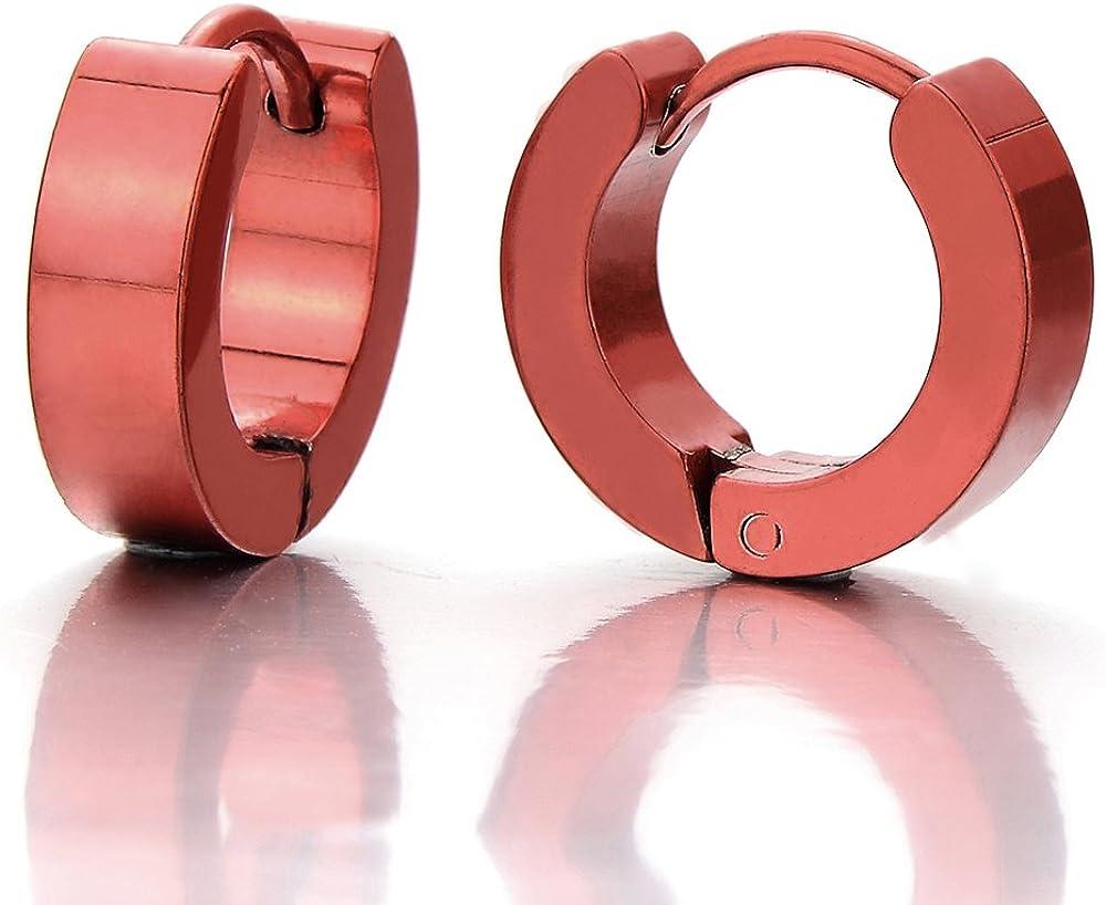 Pair Stainless Steel Metallic Huggie Hinged Hoop Earrings for Men Women