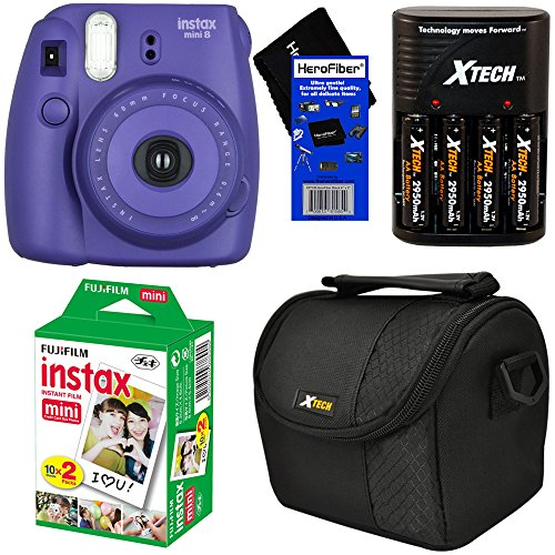 Fujifilm Instax Mini 8 Instant Film Camera (Grape) + Fujifilm Instax Mini Film (20 sheets) + 4 AA Rechargeable Batteries with Battery Charger + Padded Camera Case + HeroFiber Gentle Cleaning Cloth (Fujifilm Instax Mini8 Grape compare prices)