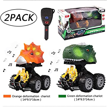 BIMOUR 2 Pcs Fun Mini DinosaurModel Inertial Moving Car Dino Car Children's GiftDeformation Robot Truck with Magic Key Boy Toddler Toy