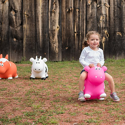 Farm Hoppers Award Winning Inflatable Bouncing Pink Cow Plus Pump