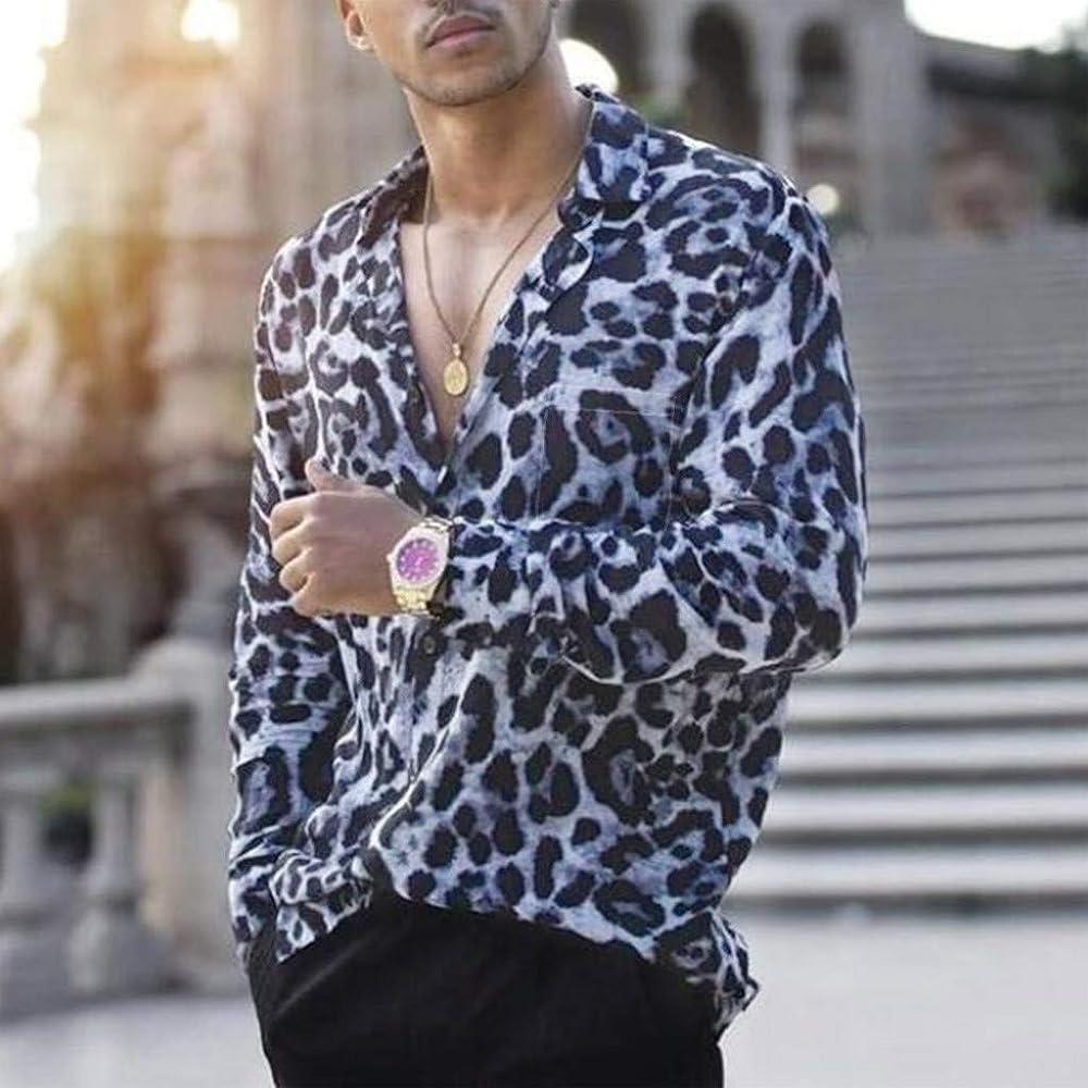 Youngii - Camisa para Hombre con Estampado de Leopardo y Bolsillo Delantero Azul M: Amazon.es: Ropa y accesorios