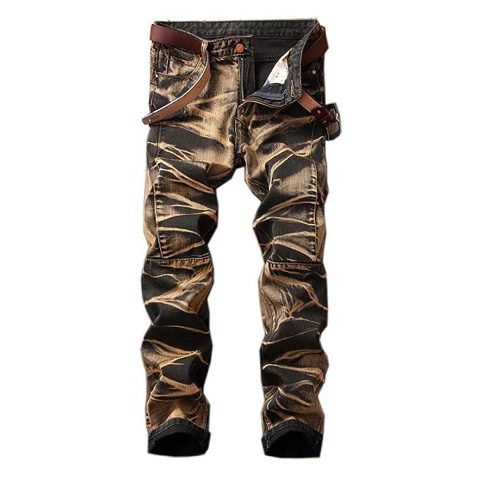 Targogo Pantalones De Mezclilla De Los Hombres Cintura Slim ...