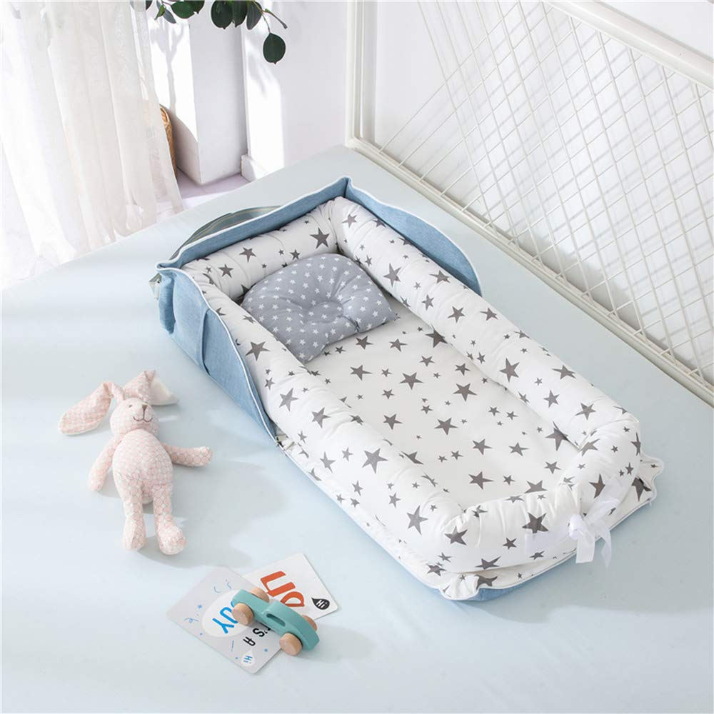 Newborn Baby Nest Bed,Gray Stars Printed Baby Bassinet Cot Bed Super Soft and Comfortable Baby Portable Crib Baby Lounger with Bag Perfect for Travel//Co-Sleeping