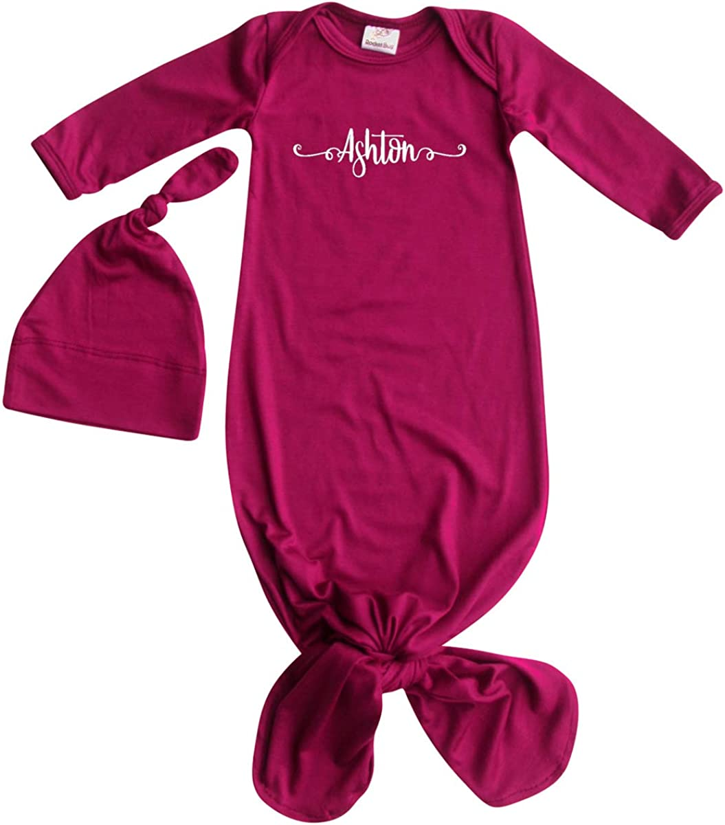 SwaddleDesigns Infant Cotton Baby Gown with Mitten Foldover Cuffs and Knotted Hat Newborn Black