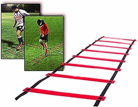CAMTOA Escalera de Agilidad,Entrenamiento de la Velocidad de Escalera, Speed Training Kit-9-rung, Longitud 5m para Fútbol, Velocidad, Pies aptitud Balompié Entrenamiento Deportes con Bolsa de Transporte: Amazon.es: Deportes y aire libre