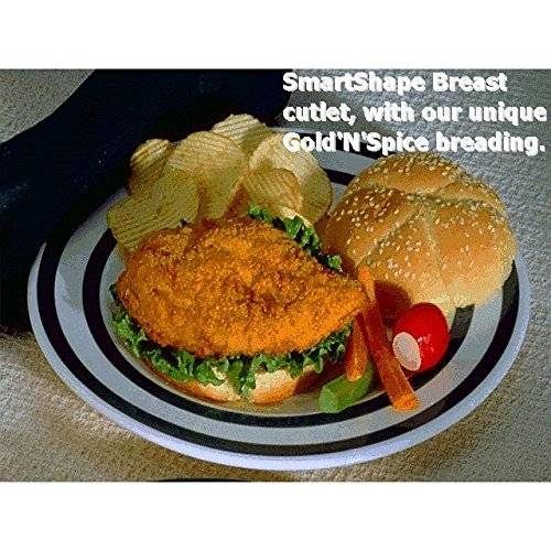 Brakebush Chicken, Fully Cooked SmartShapes, Gold'N'Spice Breaded Chicken Breast Cutlet, 5 lb, (Pack of 2)