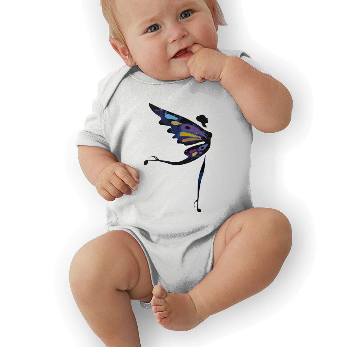 Infant Baby Girls Bodysuit Short-Sleeve Onesie Creative Butterfly Man Print Jumpsuit Spring Pajamas