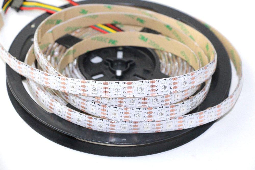 Rongda Smart Home APA102 60 LEDs Pixels Addressable RGB LED Strip Magic Color Light DC5V IP65 (White PCB)