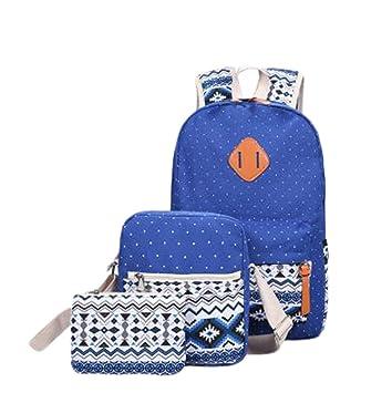 Hosaire Backpack Mochilas Escolares Mujer Mochila Escolar Lona Bolsa Casual Para Chicas Bolsa De Hombro Mensajero Billetera (Azul): Amazon.es: Equipaje