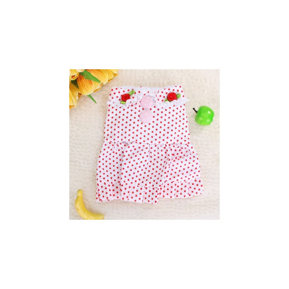 Pet Dog White Dress Skirt Apparel Clothes w/ Red Dots Pet