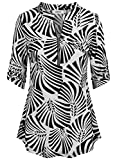 BEPEI Business Casual Tops for Women,Summer 3/4 Lengh Sleeve Floral Chiffon Peasant Blouses and Top Leaf Striped Design Clothes Slimming Fitted Tunics Notch V Neck Chest Flaps Shirts Black White Large