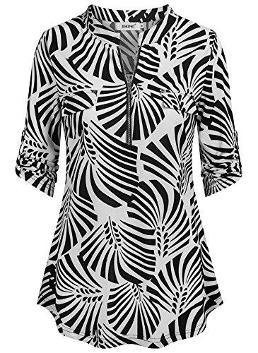 4 Light Loft (BEPEI Tunic Tops for Women 3/4 Sleeve,Juniors Lightweight Feminine Detail Back Pictuck A Line Chiffon Tunics Chic Loft Classy Soft Shirt Collar Deep V Neck Blouses Boutique Clothing Black White XL)