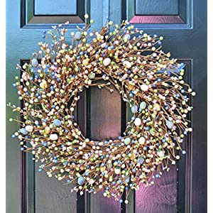 Elegant Holidays Handmade Easter Egg Berry Wreath, Decorative Front Door to Welcome Guests-for Outdoor or Indoor Home Wall Accent Décor- Great for Spring- Pastel Colors- 16-24 inches available 84