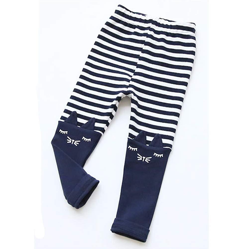 XUANO Girls Cat Print Cute Stereo Ear Stripe Leggings Toddler Kid Cartoon Cat Stripe Printed Casual Long Pants Trousers