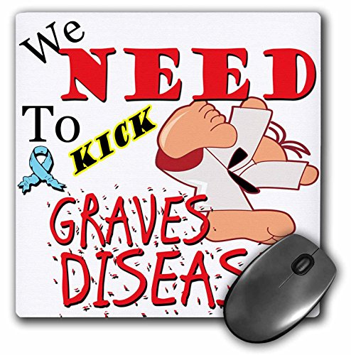 3dRose Blonde Designs Kick The Causes for Support - Kick Graves Disease - Mousepad (mp_202684_1)