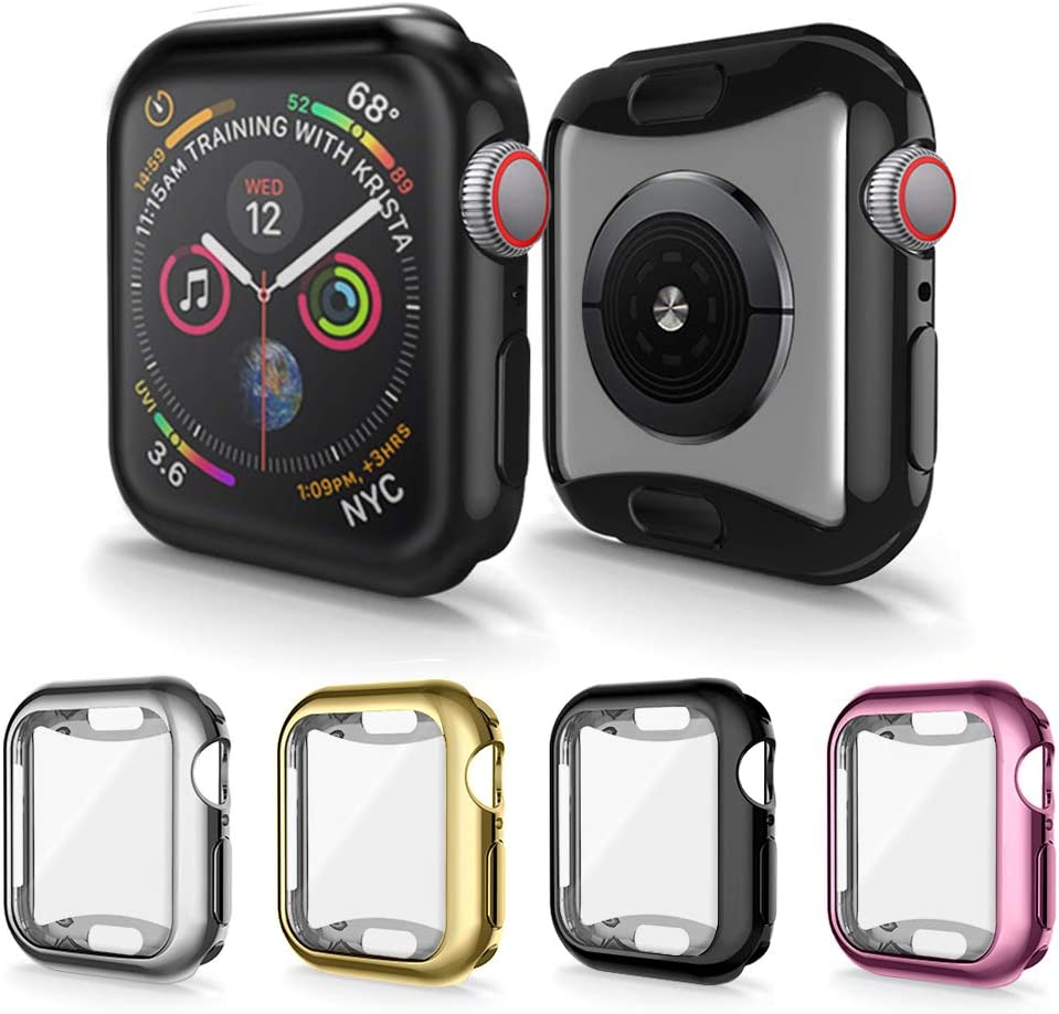 Screen Protector Compatible with Apple Watch Series 5/4 Case 40mm, 4 Packs GHIJKL Ultra Slim Soft Full Cover All Around Bumper Shell for Apple Watch Series 5/4, (Black, Silver, Gold, Rose Pink)