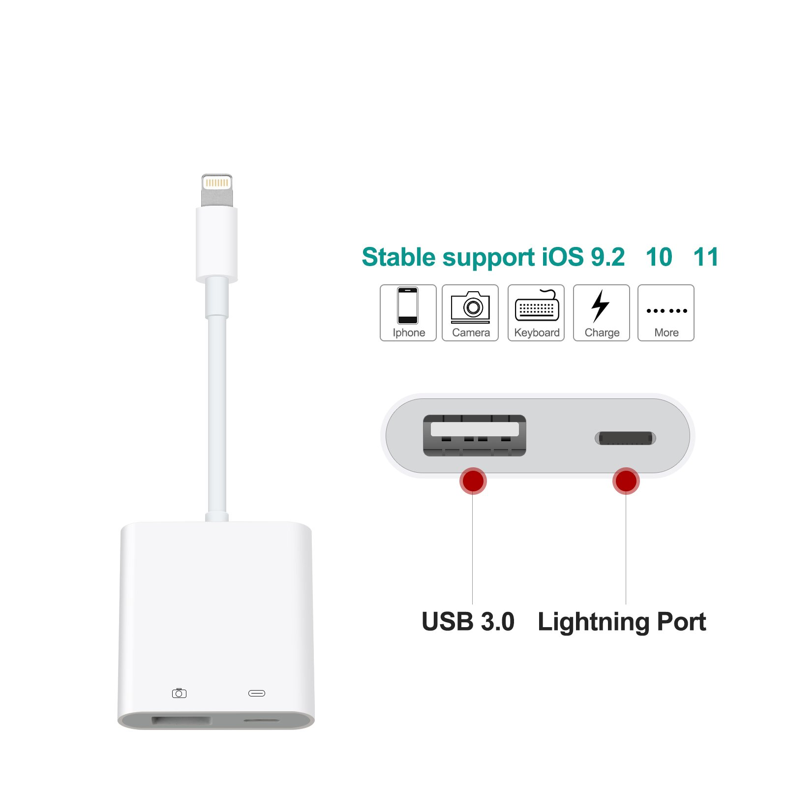 Queenwing SD Card Reader, Camera Reader Adapter, Lightning to USB Camera Adapter, Lightning to USB 3.0 Female OTG Adapter Cable With Charging Interface for iPhone/iPad, No App Required.