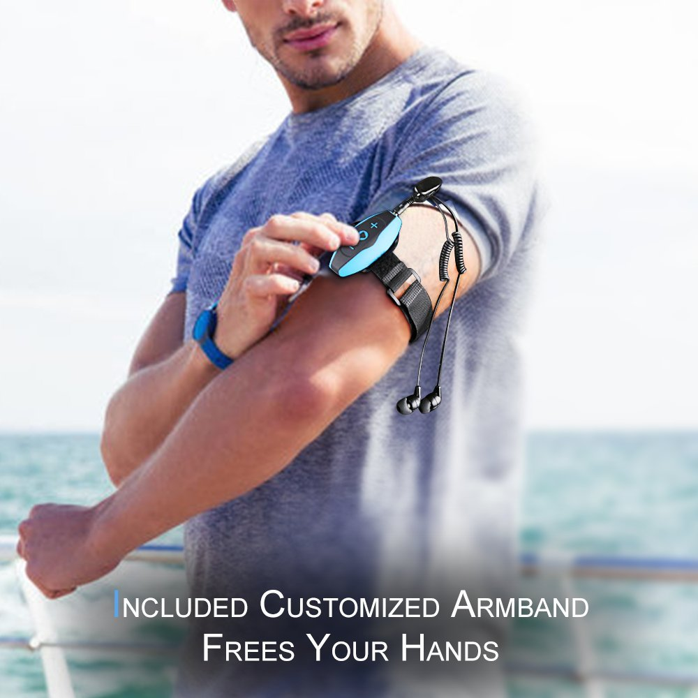 AGPTEK MP3 Acuatico 8GB Azul S05 Waterproof Clip Reproductor de MP3 Deportivo con Auriculares Impermeable IPX8 para Natar Correr