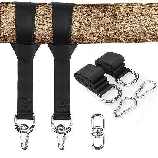 KAILH Set Colgante Swing, Correas de sujeción Cinturón Accesorios de Hamaca con Ganchos, Cuerdas Multifunciones Suspensión, Puede soportar Peso ...