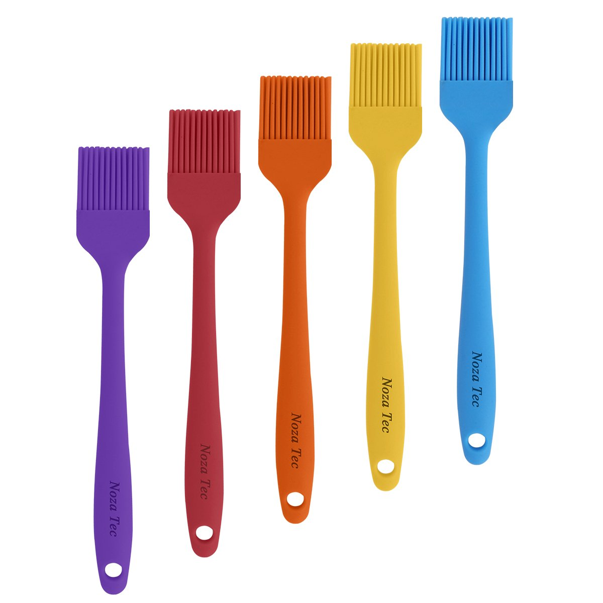 Noza Tec Silicone Basting Pastry and BBQ Brushes durable,soft & flexible, 5 different colours per set, perfect tool for grilling, parties, camping & picnics Heat Resistant Kitchen Utensils - Dishwasher Safe- Essential Cooking Gadget, Bakeware Tool