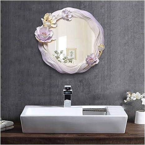 Amazon Com Decorative Mirror Waterproof 3d Flowers Relief Resin Bathroom Living Room Background Mirror Beauty Salon Wall Mirror Anti Fog Silver Mirror An1014 916 Home Kitchen