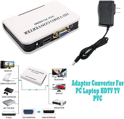 Artistic9 Home Audio VGA to HDMI 1080P Full HD HDTV Video Konverter Adapter Box para Laptop PC: Amazon.es: Electrónica