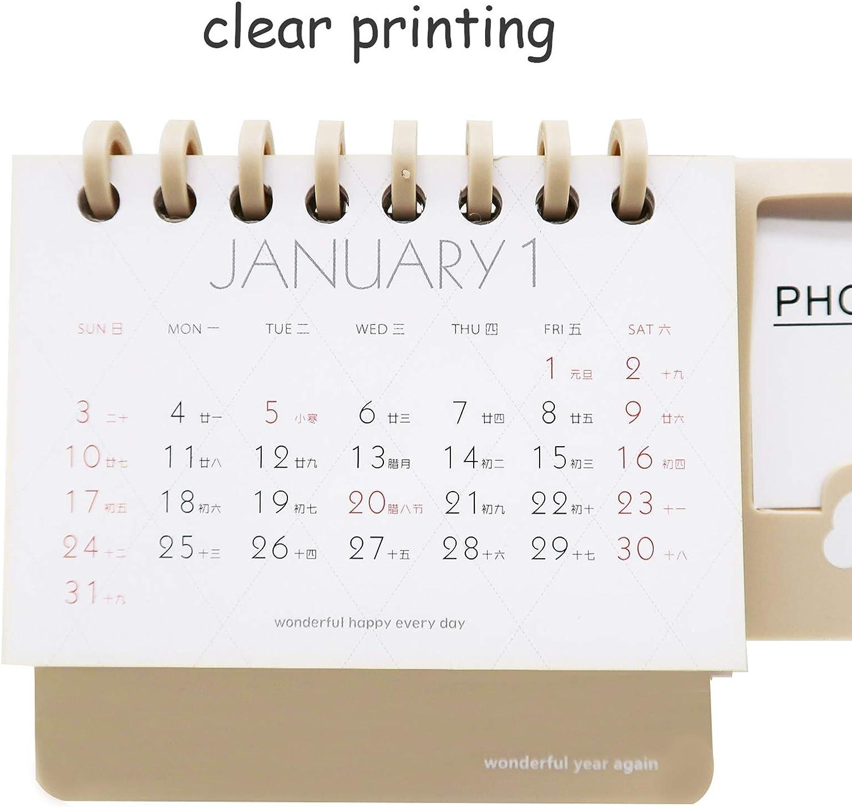 Monthly Calendar Calender Desk Portabl Mini Flip 2020-2021 Standing Desktop