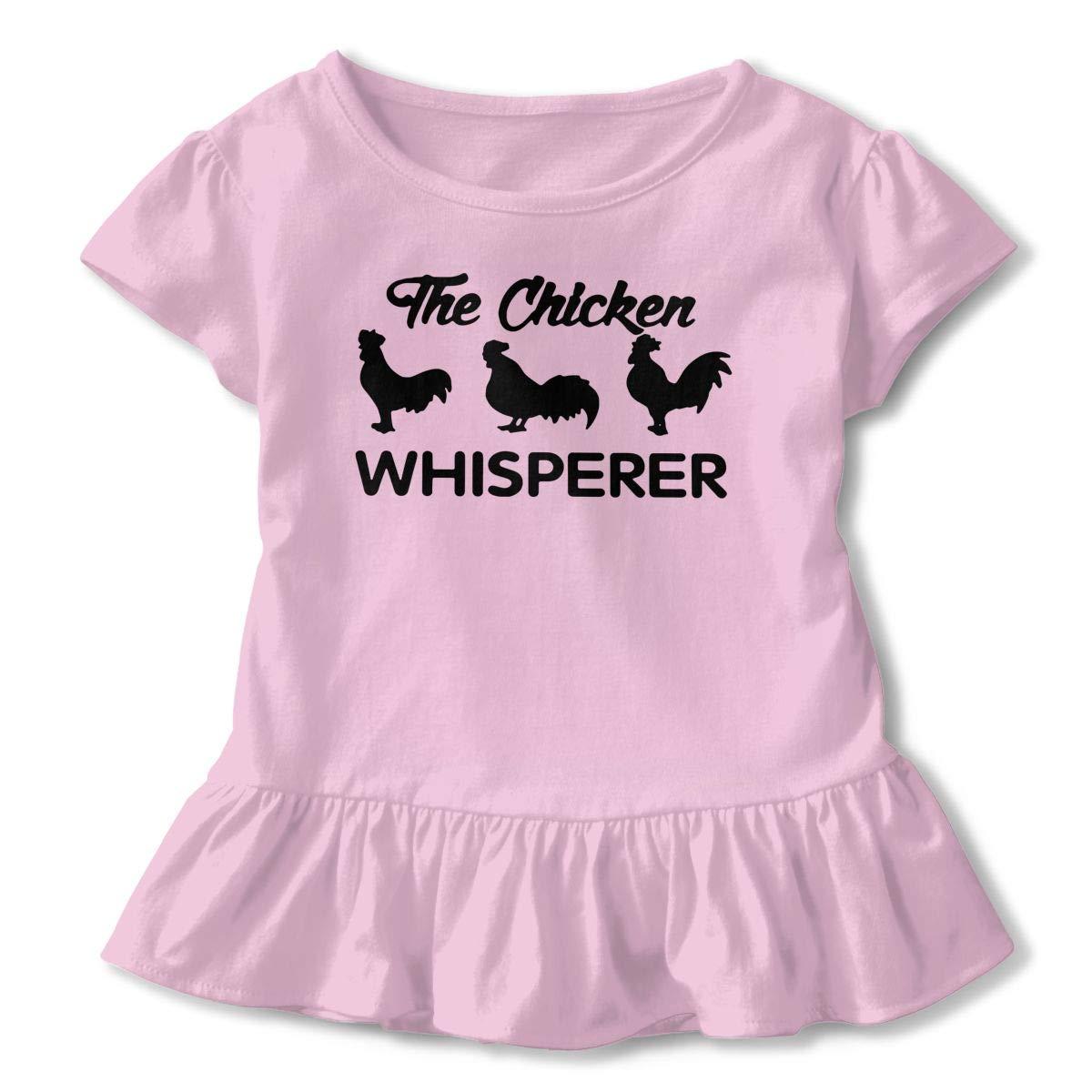 SHIRT1-KIDS The Chicken Whisperer Childrens Girls Short Sleeve Ruffles Shirt Tee for 2-6 Toddlers