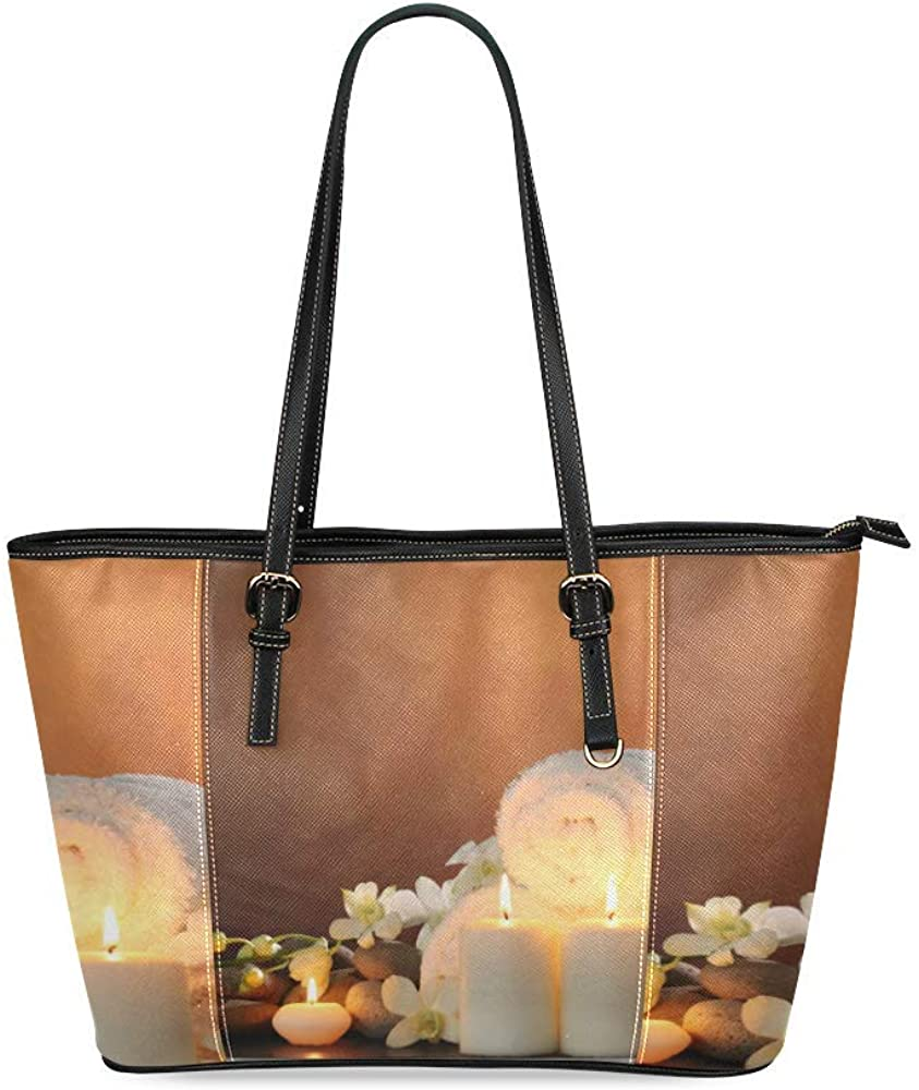 Decorate Well Custom Zen Stones Burning Candles Spa Orchid Flower Women Fashion PU Leather Handbag Casual Shoulder Tote Bag with Zipper