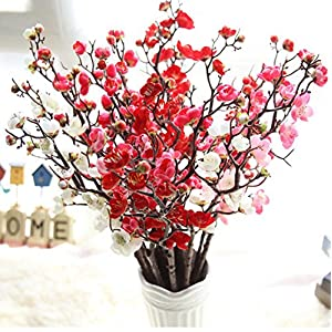 Artificial Flower Decor, Neartime Hot Sale Artificial Plum Blossom Branches Flowers Stems Silk Fake Floral Bouquet for Home Wedding Party Decoration 31