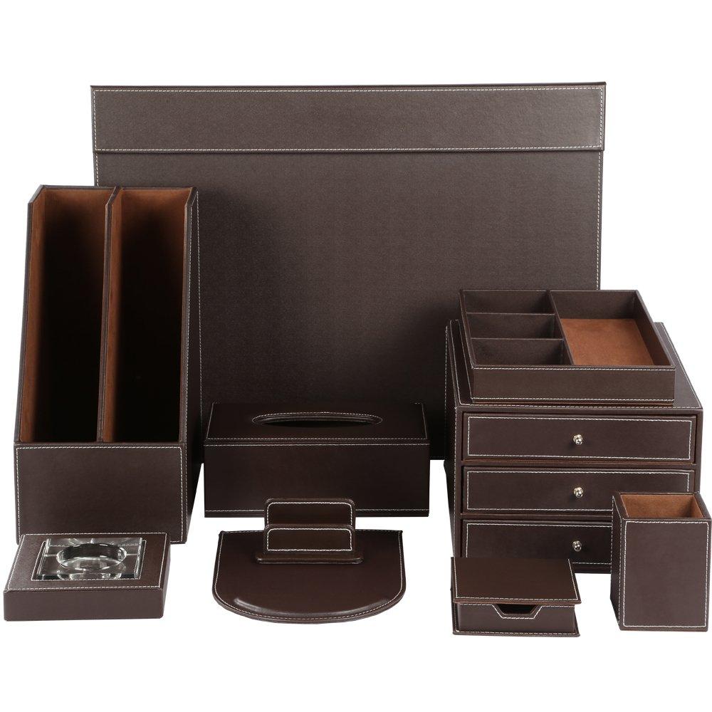 KINGFOM™ Office Desk Organizer Set T07-10PCS/Office Supply Eco-Friendly Synthetic Leather Desk Set Including 3-Drawer File Cabinet,2-slot Document Holder, Memo Paper Holder,Pen Holder, 4-Compartment Drawer Organzer, Name Card Holder, Mouse Pad, Desk Pad