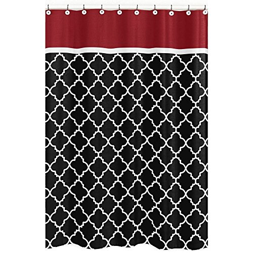 "72""x72"" Black White Moroccan Trellis Pattern Shower Curtain,"