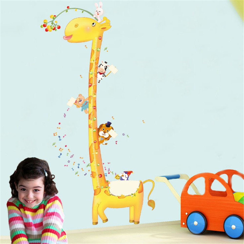 Height chart wall sticker kids growth chart wall decal measure height chart wall sticker kids growth chart wall decal measure wall sticker owl giraffe lion and monkey tree vinyl posters removable for nursery amipublicfo Gallery