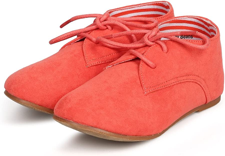 Coral DG66 Suede Round Toe Lace Up Classic Ankle Oxford Flat Toddler//Little Girl//Big Girl Size: Big Kid 4
