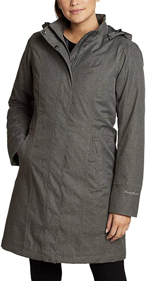 Eddie Bauer Women's Girl On The Go Insulated Trench Coat, Dk Charcoal Htr