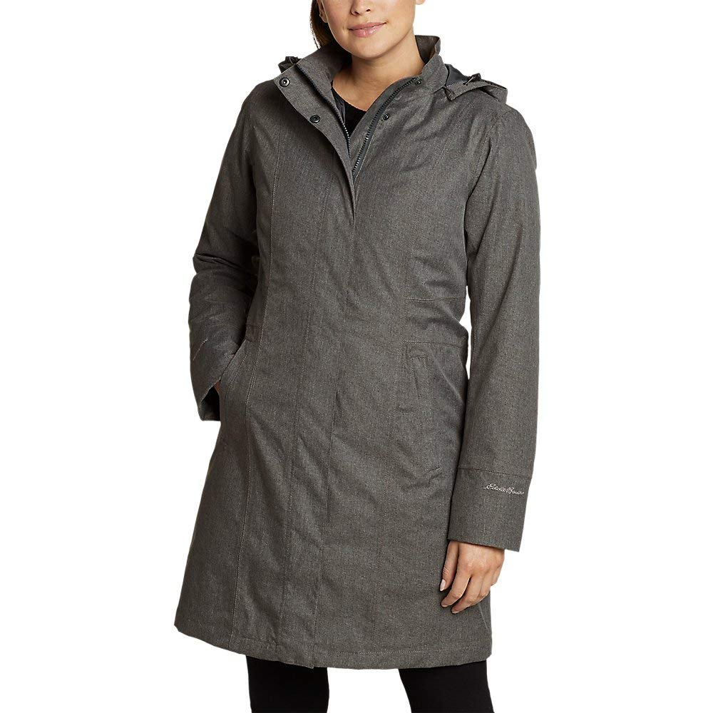 Eddie Bauer Women's Girl On The Go Insulated Trench Coat, Dk Charcoal HTR Petite by Eddie Bauer