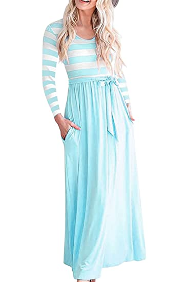 b292c59e0e JOXJOZ Women s Long Sleeve Scoop Neck Pockets High Waist Striped Pleated  Maxi Dress with Belt at Amazon Women s Clothing store