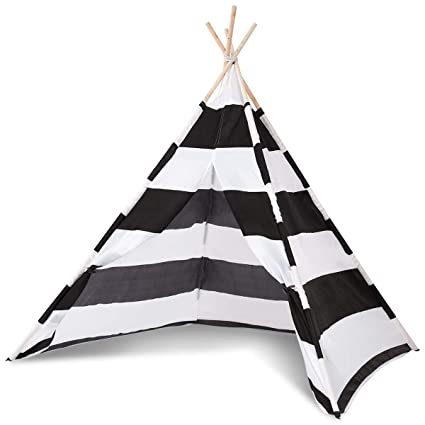 new styles b9ecb 4378d COSTWAY Kids Teepee Play Tent Children Indian Tent Canvas Playhouse Wooden  Bar For Indoor Outdoor 160cm Tall Princess Pink & White/Black & White ...