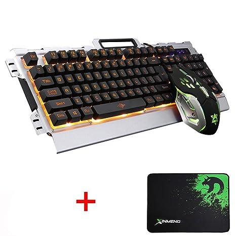 LexonElec Teclado y ratón K33 Gaming Cableado naranja LED Retroiluminado Multimedia Teclado USB Teclado para juegos