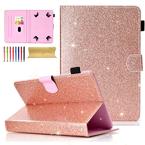 Cookk Universal Folio Case for All 6.5-7.5 inch Tablet, Cookk PU Leather Bling Glitter [Card Slots] Stand Cover for Galaxy Tab 4, Galaxy Tab 3 Lite, Nexus 7, Touch M7, Rosegold